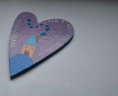 Casa è dove c'è amoreCalamita a forma di cuore masonite di LabLiu, €8.50