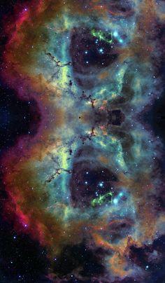 the Rosette Nebula (edited) fabric by azizakadyri on Spoonflower - custom fabric