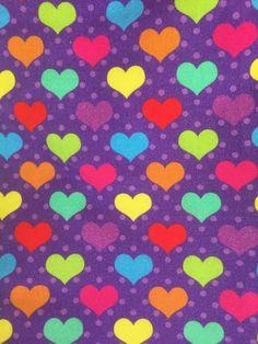 b36bfdd161c Rainbow Hearts on Purple European Cotton Lycra Knit Jersey Fabric