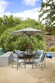 Fremont sling dining from Brown Jordan Outdoor Lounge, Outdoor Dining, Outdoor Decor, Brown Jordan, Outdoor Settings, Land Scape, Patio, Outdoor Furniture, Traditional