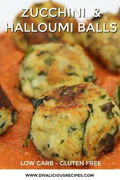 Zucchini and Halloumi cheese are blended together to make little balls of deliciousness. A low carb and gluten free main course menu that sits well in a marinara sauce. Low Carb Recipes, Diet Recipes, Cooking Recipes, Healthy Recipes, Low Carb Vegetarian Recipes, Vegetarian Meal, Cleaning Recipes, Diet Meals, Diet Foods