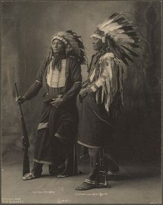 Wonderful Studio Portrait of Chief Goes To War and Chief Hollow Horn Bear, Sioux by F.A. Rinehart at Trans-Mississippi and International Exposition in Omaha, Neb. (c.1898).