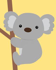 Yellow and gray nursery Nursery Koala Art Koala baby shower