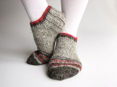 Ankle Socks  Hand Knitted  Grays and Red by milleta on Etsy, €21.00