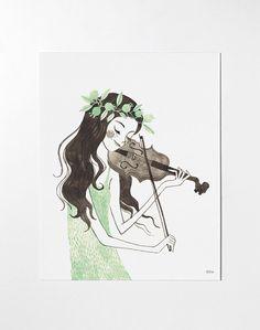 Violin art print / Limited Edition by oanabefort on Etsy Violin Drawing, Violin Painting, Violin Art, Disney Kunst, Disney Art, Art And Illustration, Cool Art Drawings, Illustrators, Retro