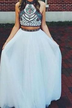 Beaded Prom Dress,Halter Prom Dress,Two Pieces Prom Dress,Fashion Prom Dresses Two Piece, Best Prom Dresses, Prom Dresses For Sale, Two Piece Dress, Dance Dresses, Homecoming Dresses, Evening Dresses, Prom Gowns, Pretty Dresses