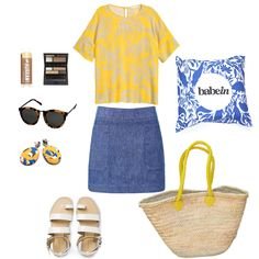 Brow Kit: Model Co Eyebrows designer; Sunglasses: Karen Walker Harvest Crazy Tort; Earrings: Emily Green Buttercup Collage Drop; Top: H & M Patterned Blouse; Skirt: Seed Twill A-line; Sandals: Country Road Blaire; Babywearing Wrap: Babein True Blue; Bag: The Market Basket Co. Mia Yellow. http://shop.babein.com.au/product/true-blue-wrap