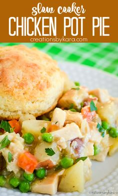 Crock Pot Chicken Pot Pie - your favorite comfort food, made in the slow cooker. Creamy chicken & veggie filling topped with flaky biscuits. #slowcookerchickenpotpie #crockpotchickenpotpie #chickenpotpie #chickendinner -from Creations by Kara Slow Cooker Recipes, Crockpot Recipes, Chicken Recipes, Easy Family Meals, Family Recipes, Flaky Biscuits, Crockpot Dishes, Delicious Dinner Recipes, Crock Pot