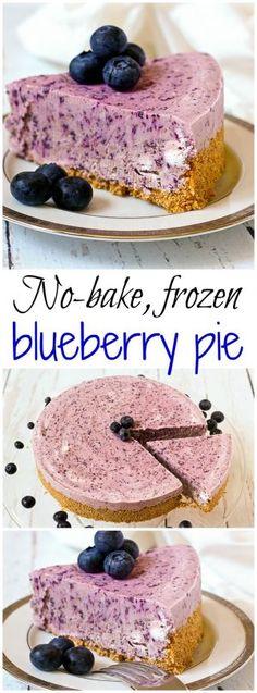 No-bake frozen blueberry pie - a super creamy summer dessert! | FamilyFoodontheTable.com
