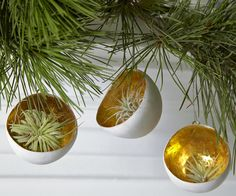 Living Ornaments - Gold Leaf Cup Christmas Ornament by Flora Grubb