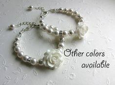 SET of 2 Flower Girl gifts Swarovski Pearl by ThreeMineBlessings, $29.80