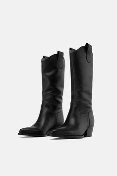 9664bbf8266 Heeled leather cowboy boots. ZARA