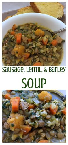 Chewy barely, spicy sausage and nutty green lentils are used to make this hearty and thick soup. Serve with a slice of homemade bread or biscuits for a delicious meal.