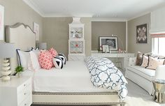 Get inspired by Traditional Kids' Bedroom Design photo by Roughan Interiors. Wayfair lets you find the designer products in the photo and get ideas from thousands of other Traditional Kids' Bedroom Design photos. Gray Bedroom, Home Bedroom, Kids Bedroom, Master Bedrooms, Desk In Bedroom, Bedroom Themes, Bedroom Decor, Bedroom Ideas, Arranging Bedroom Furniture