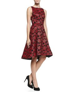 T8KDZ Alice + Olivia Bailey Rose-Jacquard A-Line Dress  FIO