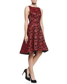 T8KDZ Alice + Olivia Bailey Rose-Jacquard A-Line Dress  FIO