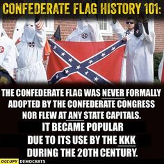 """Next time somebody tries to tell you that the Confederate flag is about """"cultural heritage"""", remind them of this. #TakeDownTheFlag"""