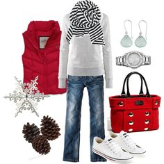 Red Puffer Vest, Grey Sweater, Black with White Striped Scarf, Jeans, White Converse