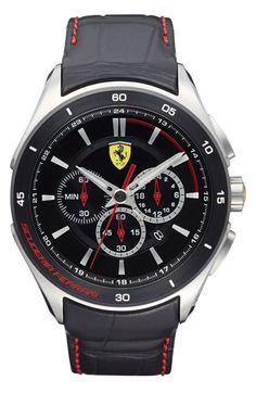 Men's Scuderia Ferrari 'Gran Premio' Chronograph Leather Strap Watch