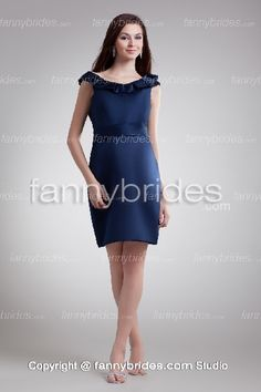 Column Short Navy Blue Decent Mother Of The Bride Dress - Fannybrides.com