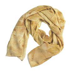 "Leaf Print Silk Scarf 30, matte crepe de chine, 13"" x 70"""