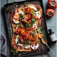 Flatbread With Whipped Goat Cheese And Persimmon Salad via @feedfeed on https://thefeedfeed.com/adamfoodstyle/flatbread-with-whipped-goat-cheese-and-persimmon-salad