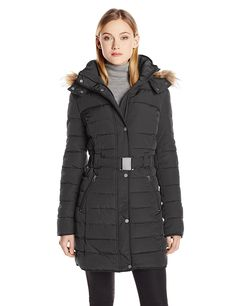 Tommy Hilfiger Women's Long Belted Down Coat with Faux-Fur Trim Hood at Amazon Women's Coats Shop