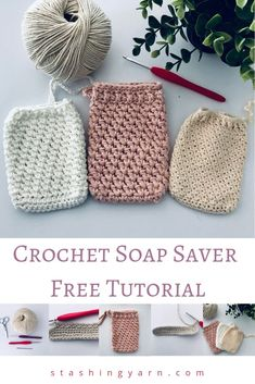 Easy Crochet Soap Saver Tutorial - Great for Beginner Crocheters - Handmade CrochetMake your own gorgeous, textured crochet soap saver. Free pattern and easy full photo tutorial to start you on your own handmade crochet spa set Crochet Diy, Crochet Geek, Crochet Gifts, Beginner Crochet, Tutorial Crochet, Knitting Projects, Crochet Projects, Knitting Patterns, Crochet Patterns