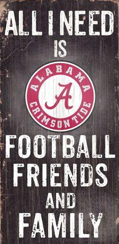 Alabama Crimson Tide Wood Sign - Football Friends and Family - 6 x12
