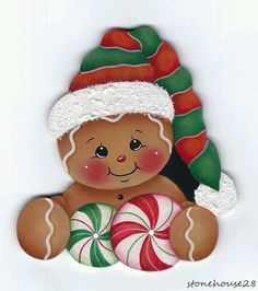 Dressed for Santa Gingerbread Painting E-Pattern Gingerbread Christmas Decor, Gingerbread Ornaments, Gingerbread Decorations, Christmas Rock, Christmas Projects, Holiday Crafts, Christmas Decorations, Christmas Ornaments, Gingerbread Man