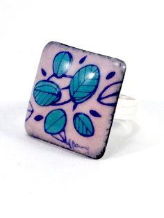Bague carré en émail - Amandine Barry Enamel Jewelry, Jewelry Collection