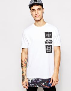ASOS Super Longline T-Shirt With Star Wars Cut And Sew