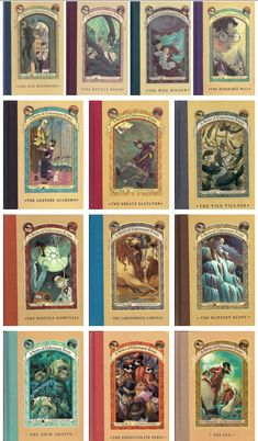 A Series of Unfortunate Events books 1-13 by Lemony Snicket. 1. The Bad Beginning 2. The Reptile Room 3. The Wide Window 4. The Miserable Mill 5. The Austere Academy 6. The Ersatz Elevator 7. The Vile Village 8. The Hostile Hospital 9. The Carnivorous Carnival 10. The Slippery Slope 11. The Grim Grotto 12. The Penultimate Peril 13. The End