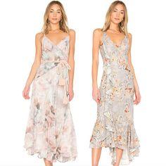 The Winnie Spliced slip dress, in Dreamy Rose & Esme ruffle slip dress, in Sky Oriental #wearekindred