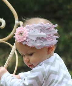 Take a look at this Pink & Gray Bow Feather Headband on zulily today!