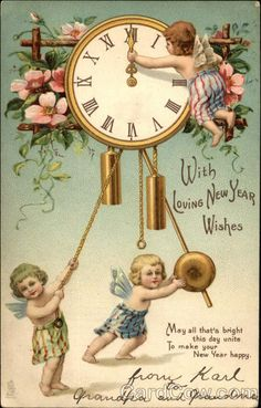A HAPPY CHRISTMAS one cherub adjusts time on clock, two cherubs below, wild roses New Year Wishes, New Year Greetings, New Year Card, Christmas Greetings, Christmas Postcards, Vintage Happy New Year, Hearty Congratulations, New Year Postcard, New Year Images
