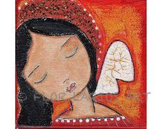 New print!  Serenity  Angel Folk Art 7 x 7 inches PRINT  by FLOR by FlorLarios, $15.00