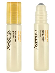 lAveeno Active Naturals Smart Essentials Anti-Fatigue Eye Treatment  This rollerball is a champ at reducing under-eye circles in a jiffy, thanks to the cool-on-contact applicator and antioxidant-rich formulation. We like to keep ours in the refrigerator for when we need heavy-duty puffiness reduction.