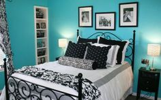 emma wants the black wrought iron bed back - liking the blue with it....but needs warming somehow.