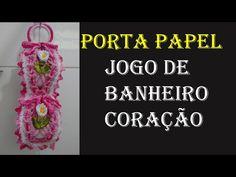 Porta Papel Jogo de Banheiro Coração Wilma Crochê - YouTube