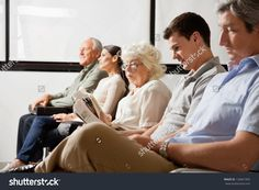 Row of multiethnic people waiting for the doctor in hospital lobby #124661092