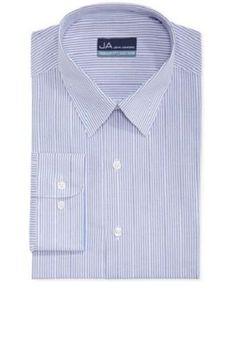 JOHN AHSORD $39.50 BLUE WHITE STRIPED REGULAR FIT BUTTON DOWN DRESS SHIRT XL #JohnAshford #ButtonFront