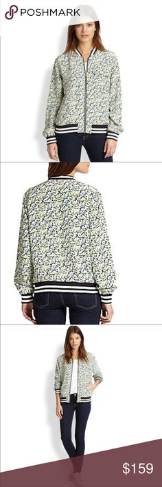 """Equipment silk floral bomber jacket -size medium Equipment silk floral bomber jacket. His perennially sporty-cool bomber jacket takes a flirty turn in floral-print silk. Striped knit collar, cuffs, and hems. Zip front. Long sleeves. Front flap pockets. Silk.  Approximately 25"""" from shoulder to hem (measurement taken with jacket hanging). Excellent condition. Equipment Jackets & Coats"""