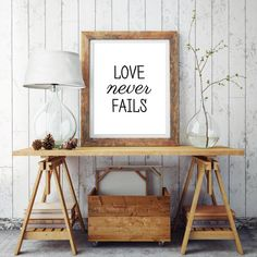 Love never fails Typography poster Wall hanging by HomeDecorPrint