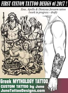 zeus dionysus apollo greek mythology tattoo. juno tattoo designs