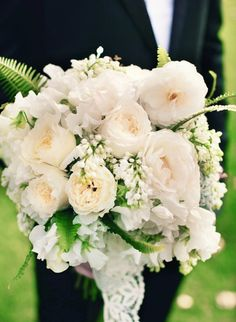 Bridal bouquet, cream peonies and roses