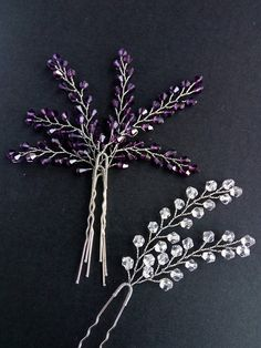 Hairpin lavender Hairpin set of 4 Crystals hair pins Bridal pins Wedding hair pins Set hairpins Silver hairpin Hair Set bridal hair pin  These hairpins are ideal for weddings in Boho, Rustic and Provence styles, for an evening out and every day using  The pins fit comfortably in hair, decorative part is quite flexible and it can be bent easily for the right fit. Perfect alternative to a hair comb.  * Price is listed for four hair pins * ** Each pin is about 10,5 х 5 cm (4.1 - 2) ** *** Used…
