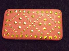 new mauve leather like gold studded hard hinge clutch wallet pop culture trendy #Claires #Clutch