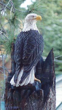 Carved Eagle Wood Sculpture