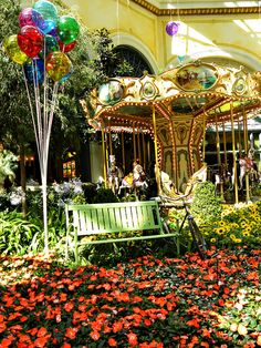 Spring Carousel , fun, flowers, happiness,